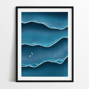 Blue tides print in black frame
