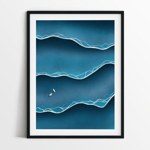 Blue tides print in black frame