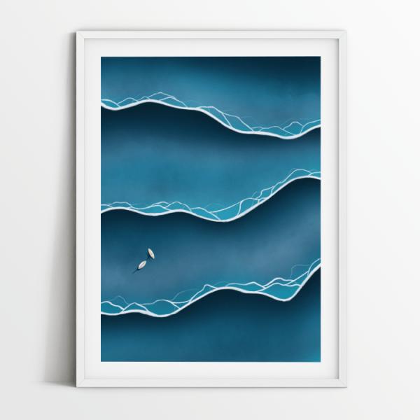 Blue tides print in white frame