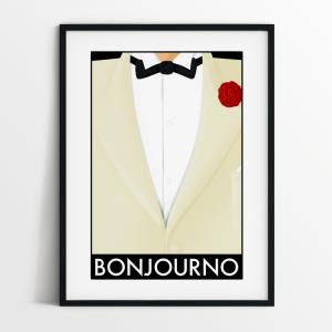 Bonjourno print in black frame