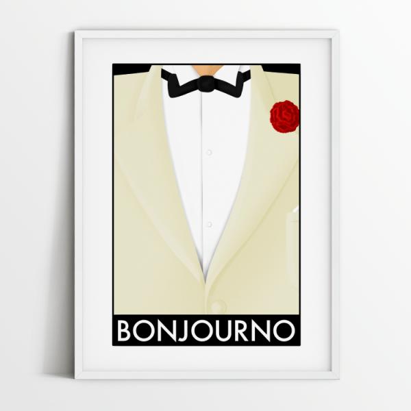 Bonjourno print in white frame