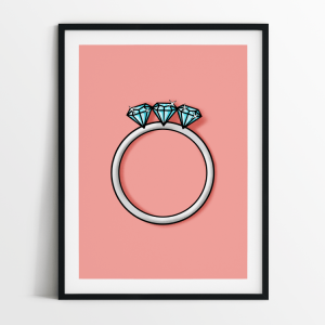 Engagement ring 3 diamonds print in black frame