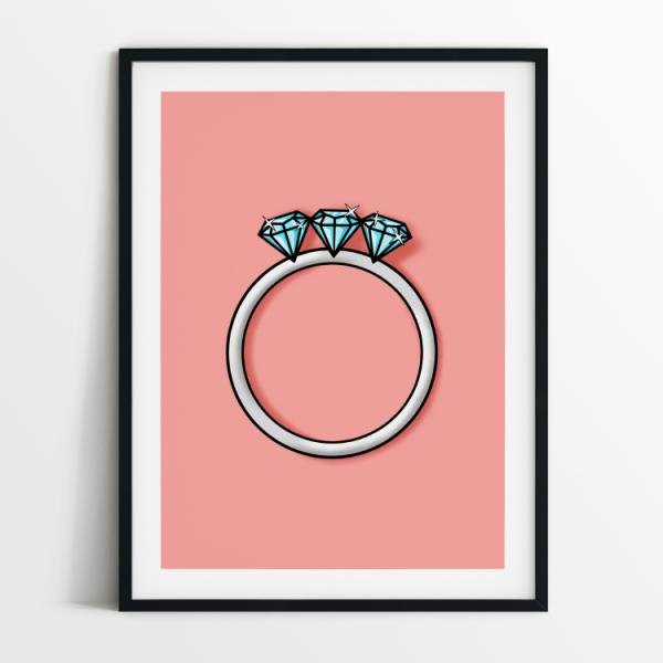 Engagement ring 3 diamonds print in black frame