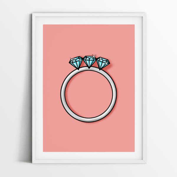 Engagement ring 3 diamonds print in white frame
