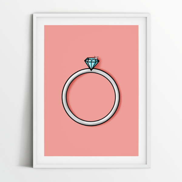 Engagement ring single diamond print in white frame