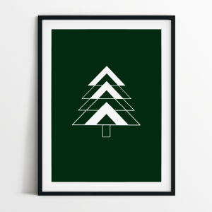 Fir Tree green print in black frame