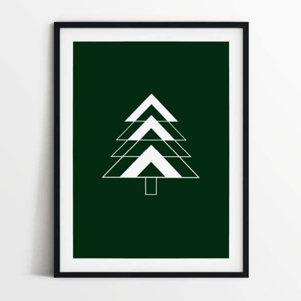 Fir Tree green print in black frame