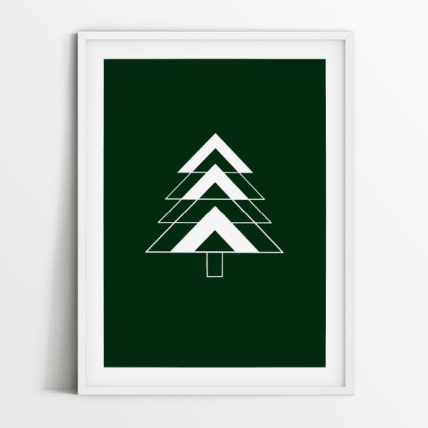 Fir Tree green print in white frame