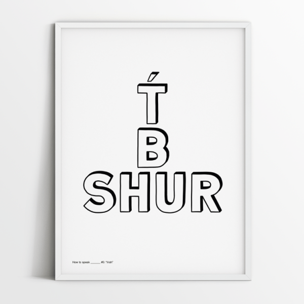 How to speak Irish print in white frame