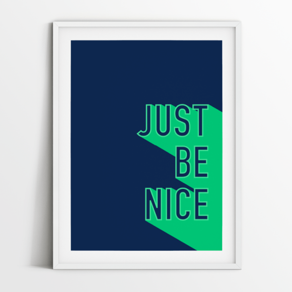 Just Be Nice print in white frame