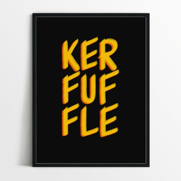 Kerfuffle print in white frame