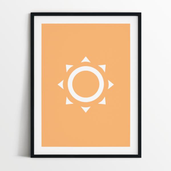 Minimalist Sun print in black frame