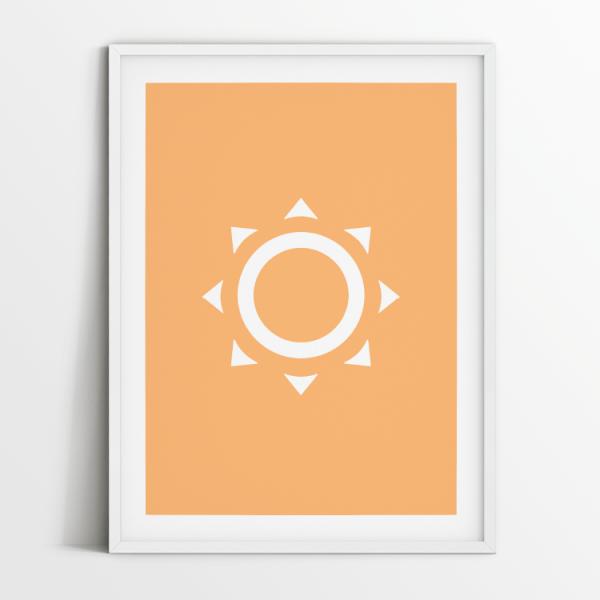 Minimalist Sun print in white frame