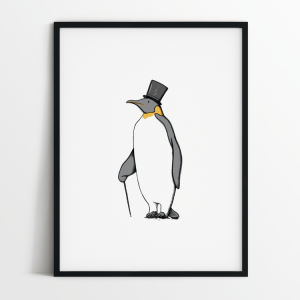 Mr Penguin print in black frame