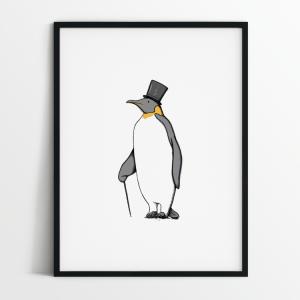 Mr Penguin print in black frame