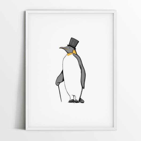 Mr Penguin print in white frame