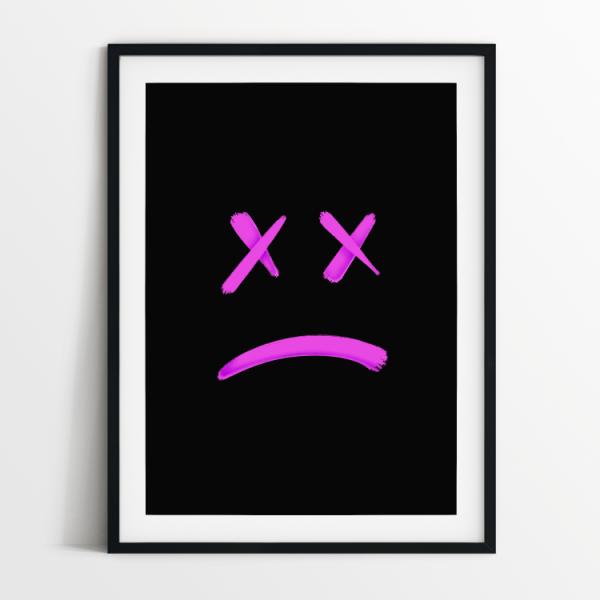No Smiley black print in black frame
