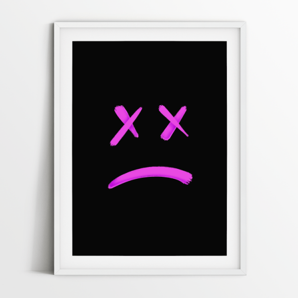 No Smiley black print in white frame