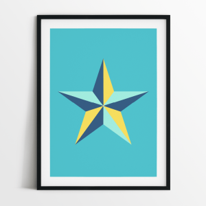 Star in blue print in black frame