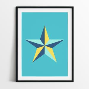 Star in blue print in black frame
