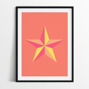 Star in Coral print in black frame
