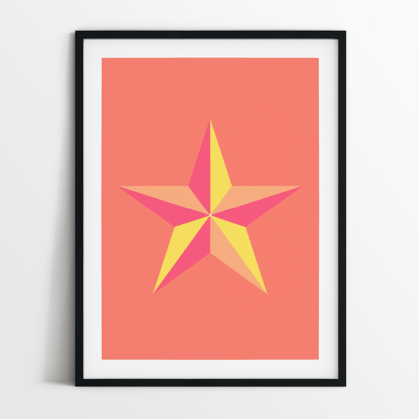Star in Coral print in black frame