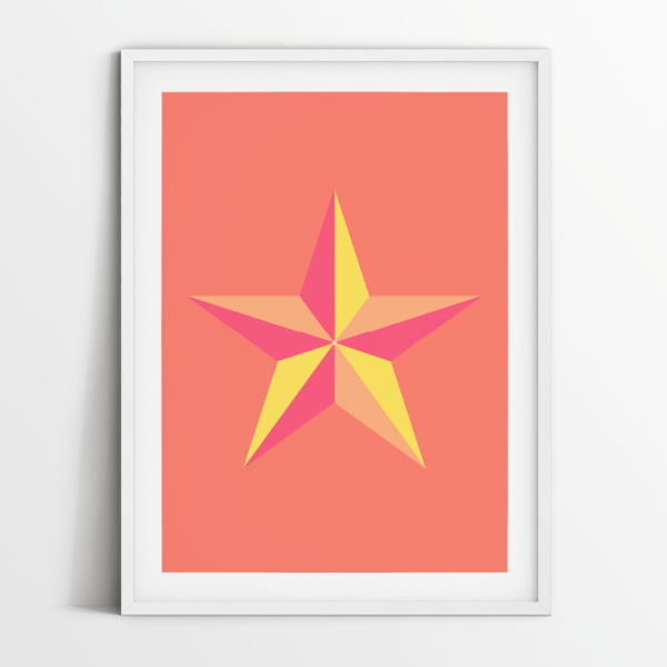 Star in Coral print in white frame
