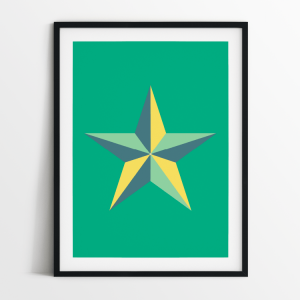 Star in green print in black frame
