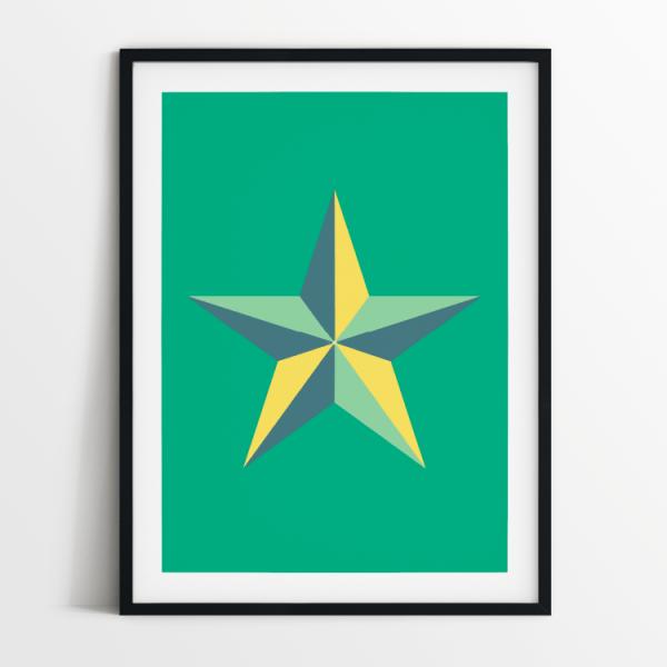 Star in green print in black frame