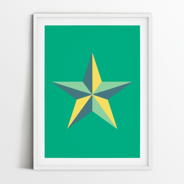 Star in green print in white frame