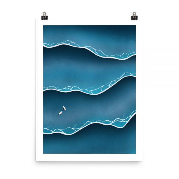 Blue tides print unframed