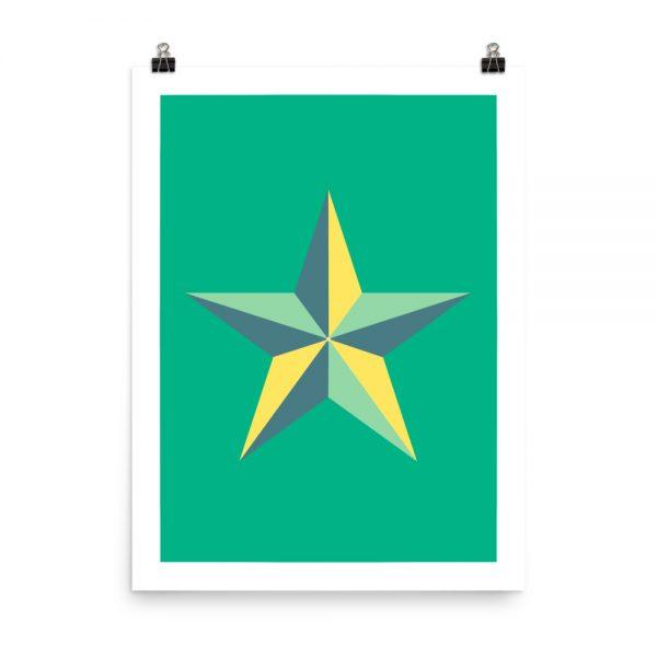 Star green print unframed