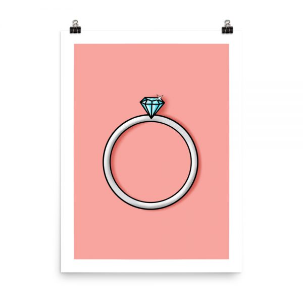 Engagement single diamond print unframed