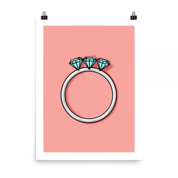 Engagement three diamonds print unframed