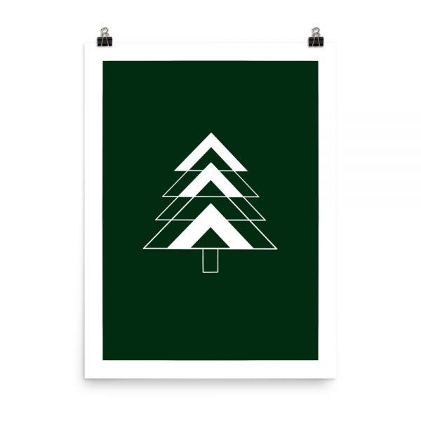 Green fir tree print unframed